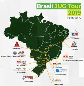 Mapa do Brasil JUG Tour 2019